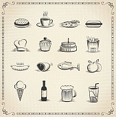 Food vintage icon set, every icon is grouped and on separate layer.
