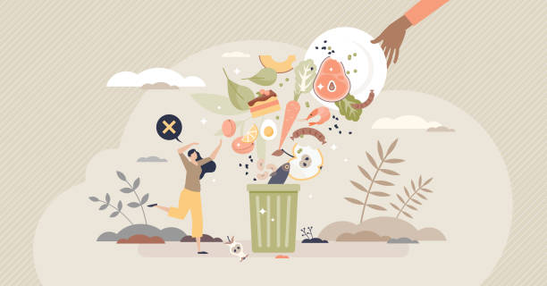 Food waste and meal leftovers garbage reduce awareness tiny person concept vector art illustration