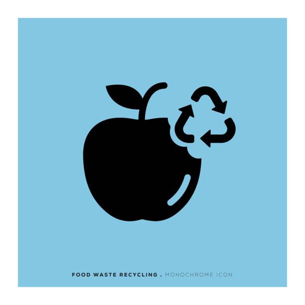 illustrazioni stock, clip art, cartoni animati e icone di tendenza di food waste recycling monochrome icon - composting