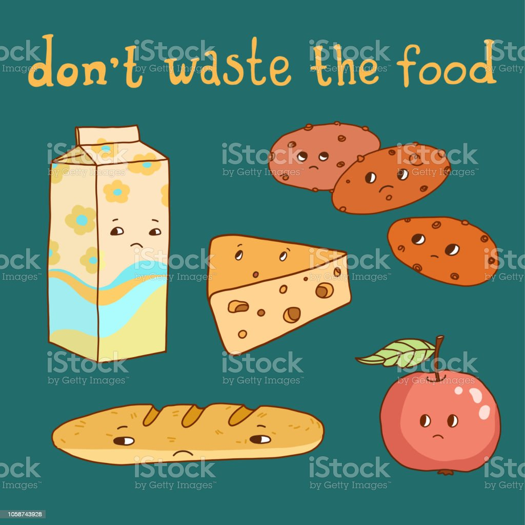 food wasting poster vector art illustration