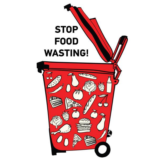 bildbanksillustrationer, clip art samt tecknat material och ikoner med mat slösa affisch - food waste