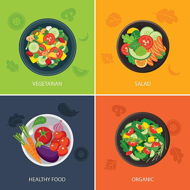 bildbanksillustrationer, clip art samt tecknat material och ikoner med food web banner flat design. vegetarian , organic food, healthy - vegetarian