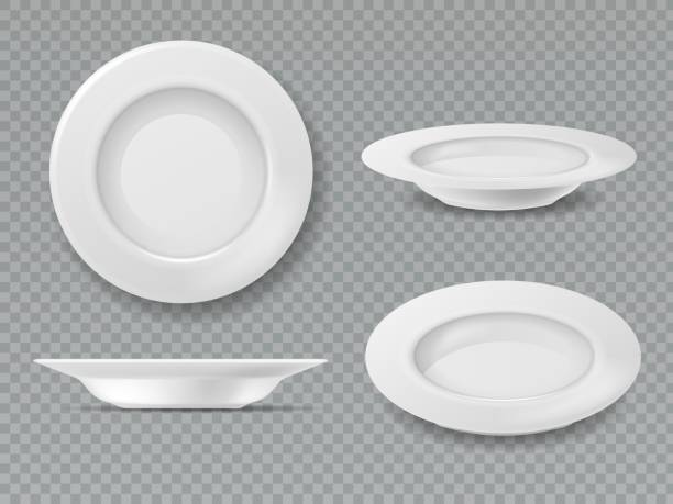 stockillustraties, clipart, cartoons en iconen met voedsel witte plaat. lege plaat top view dish bowl zijaanzicht keuken ontbijt keramische koken porselein geïsoleerde set - bord serviesgoed