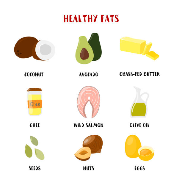 food with healthy fats and oils icons set isolated on white. vector cartoon style illustration - paleo diet stock illustrations, clip art, cartoons, & icons