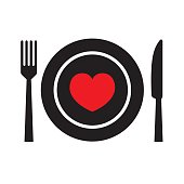 Food with love icon . Eps10 vector illustration with layers (removeable). Png, Pdf and high resolution jpeg file included (300dpi).