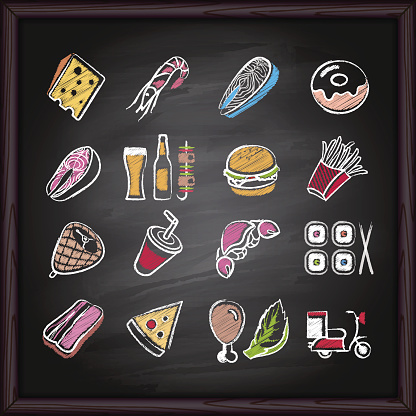 Food sketch drawing on blackboard background.