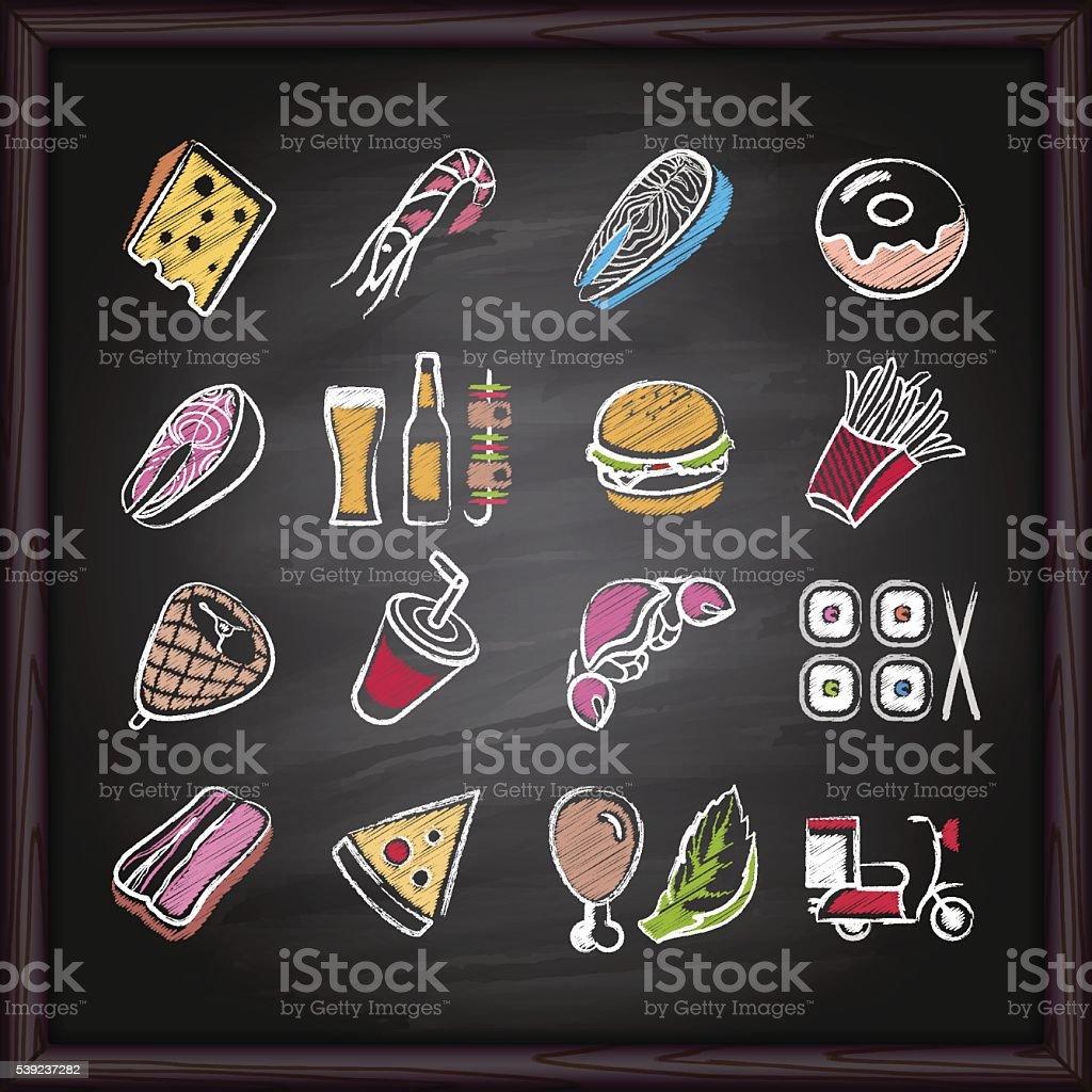 Food_Deliver_icons_on_chalkboard vector art illustration