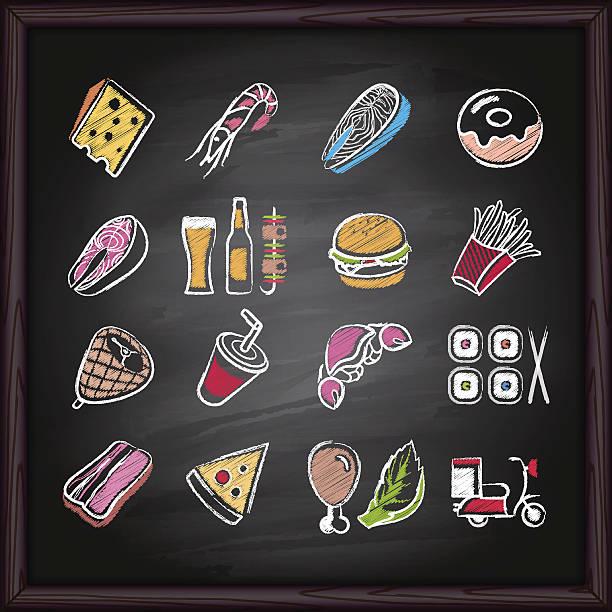 food_deliver_icons_on_chalkboard - lachskuchen stock-grafiken, -clipart, -cartoons und -symbole