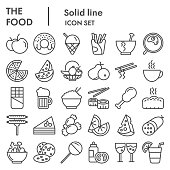 Fooddrinks line icon set. Food and drink signs collection or sketches, logo illustrations, web symbols, outline style pictograms package isolated on white background. Vector graphics