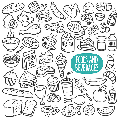 Food and beverages doodle drawing collection. Food and beverages such as bread, egg, fruits, cookie, meat etc. Hand drawn vector doodle illustrations in black isolated over white background.