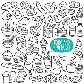 Foods and Beverages Black and White Illustration.