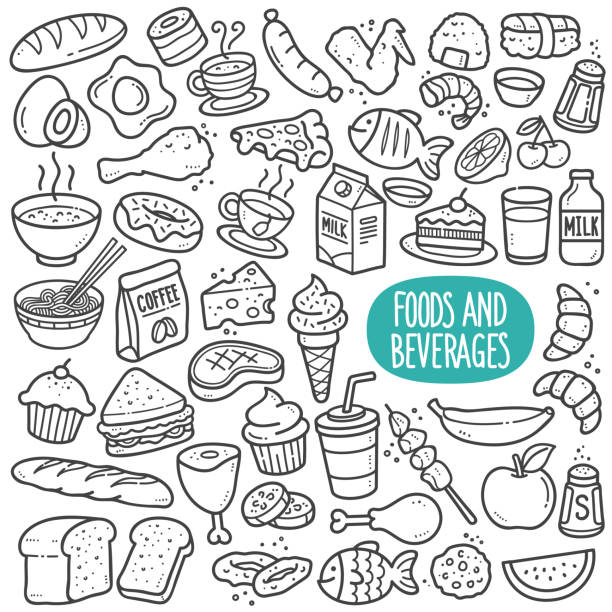 Foods and Beverages Black and White Illustration. Food and beverages doodle drawing collection. Food and beverages such as bread, egg, fruits, cookie, meat etc. Hand drawn vector doodle illustrations in black isolated over white background. bread drawings stock illustrations