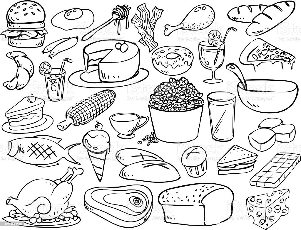 foods and beverages doodle style royalty-free stock vector art