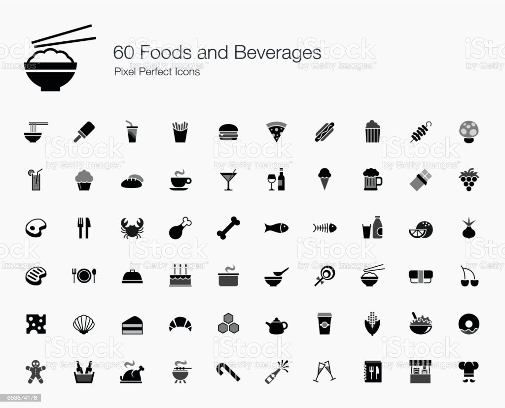 60 Foods and Beverages Pixel Perfect Icons vector art illustration