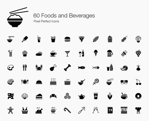 illustrations, cliparts, dessins animés et icônes de 60 aliments et boissons pixel perfect icônes - gastronomie
