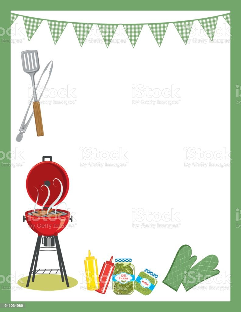 BBQ Foods And Grill Backgrounds vector art illustration