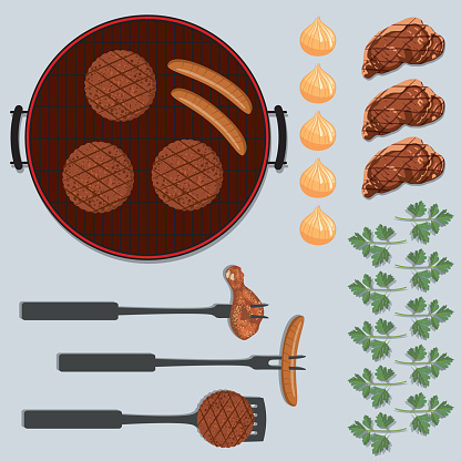 BBQ Foods Flatlays or knolling Concepts.