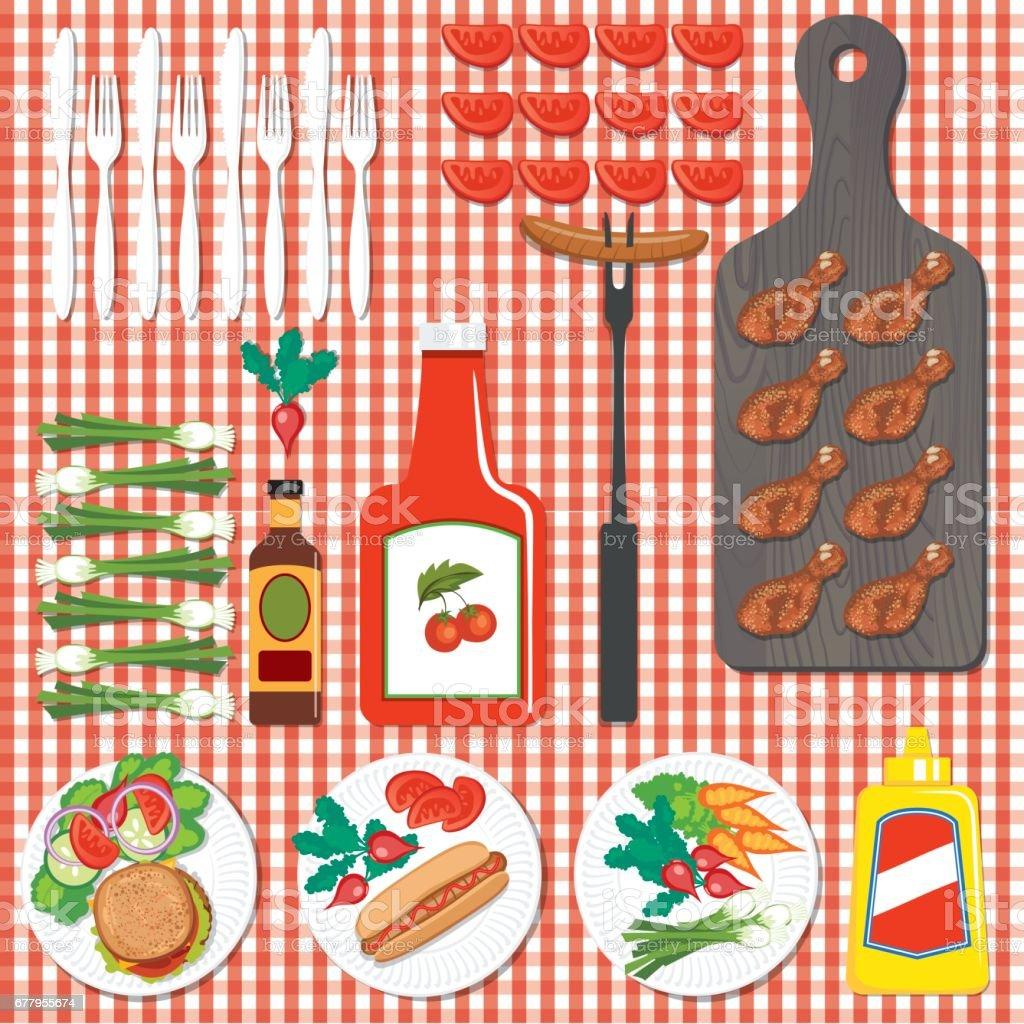 BBQ Foods Flatlays or knolling Concepts. royalty-free bbq foods flatlays or knolling concepts stock vector art & more images of arranging