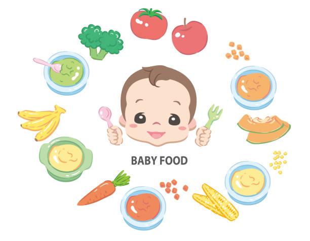 赤ちゃんのための食品 - ベビーフード点のイラスト素材/クリップアート素材/マンガ素材/アイコン素材