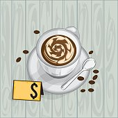 foods objects coffee latte drawing graphic  design template