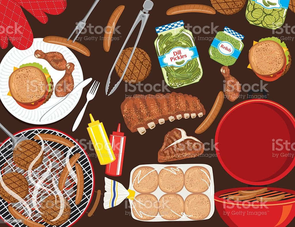 BBQ Foods On A Brown Background vector art illustration