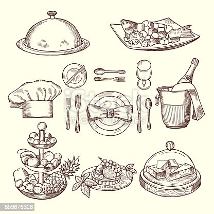 Foods on dishes. Monochrome pictures for design restaurant menu. Vector restaurant dish for menu, illustration of sketch dinner drawing