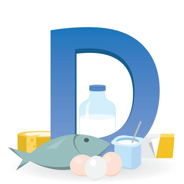 foods rich in vitamin d - vitamin d stock illustrations