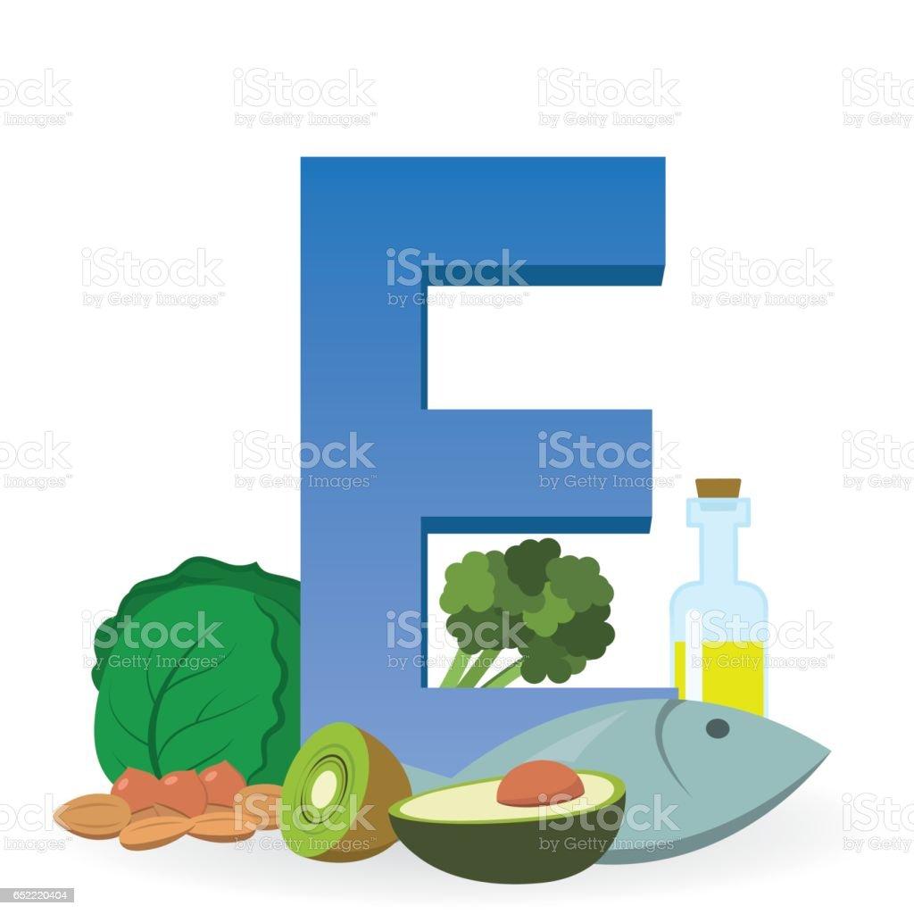 Foods Rich in Vitamin E vector art illustration
