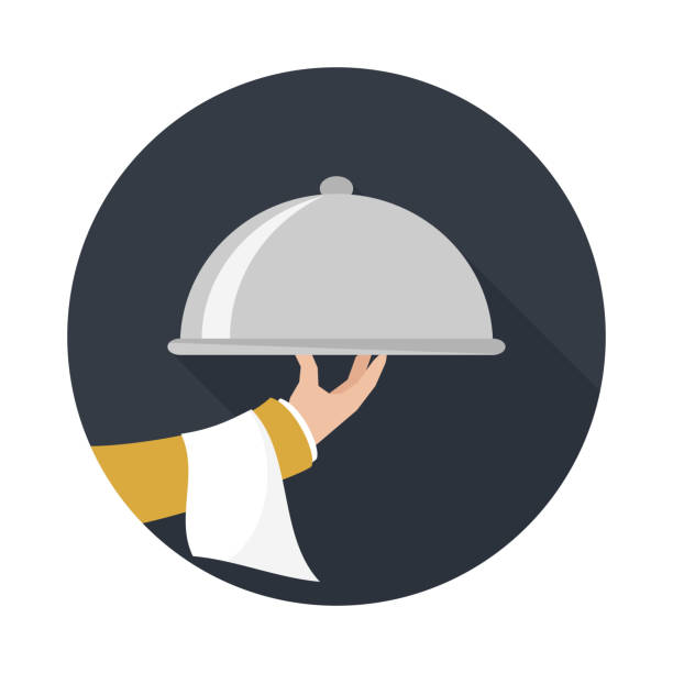 Foods Service icon. Foods Service icon with long shadow. Food Serving tray platter. Simple flat vector. serving dish stock illustrations