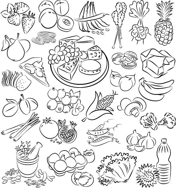 foods - feigensalat stock-grafiken, -clipart, -cartoons und -symbole