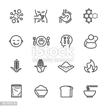 istock Foods with high fructose corn syrup and its health effects. Vector line icon. 907563140