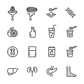 Foods with high fructose corn syrup and its health effects. Vector line icon.