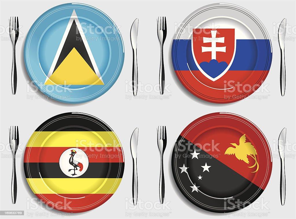 Food-Saint Lucia-Slovakia-Uganda-Papua New Guinea vector art illustration