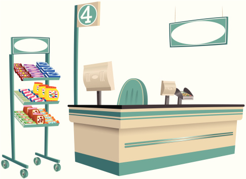 Foodstore checkout and product stand