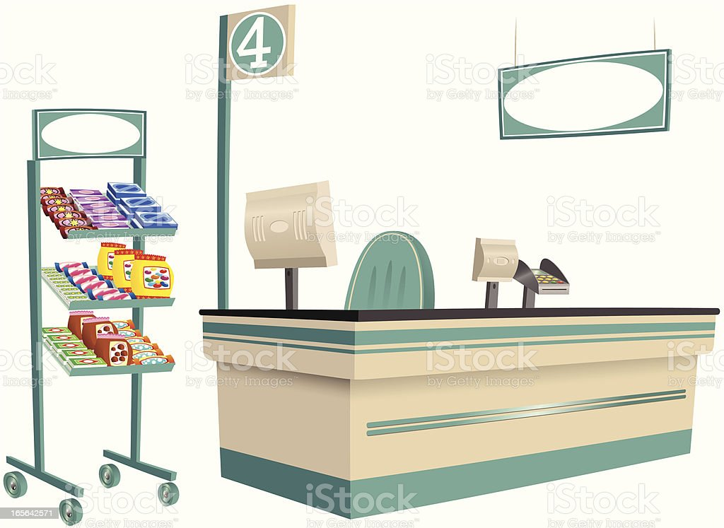 Foodstore checkout and product stand vector art illustration