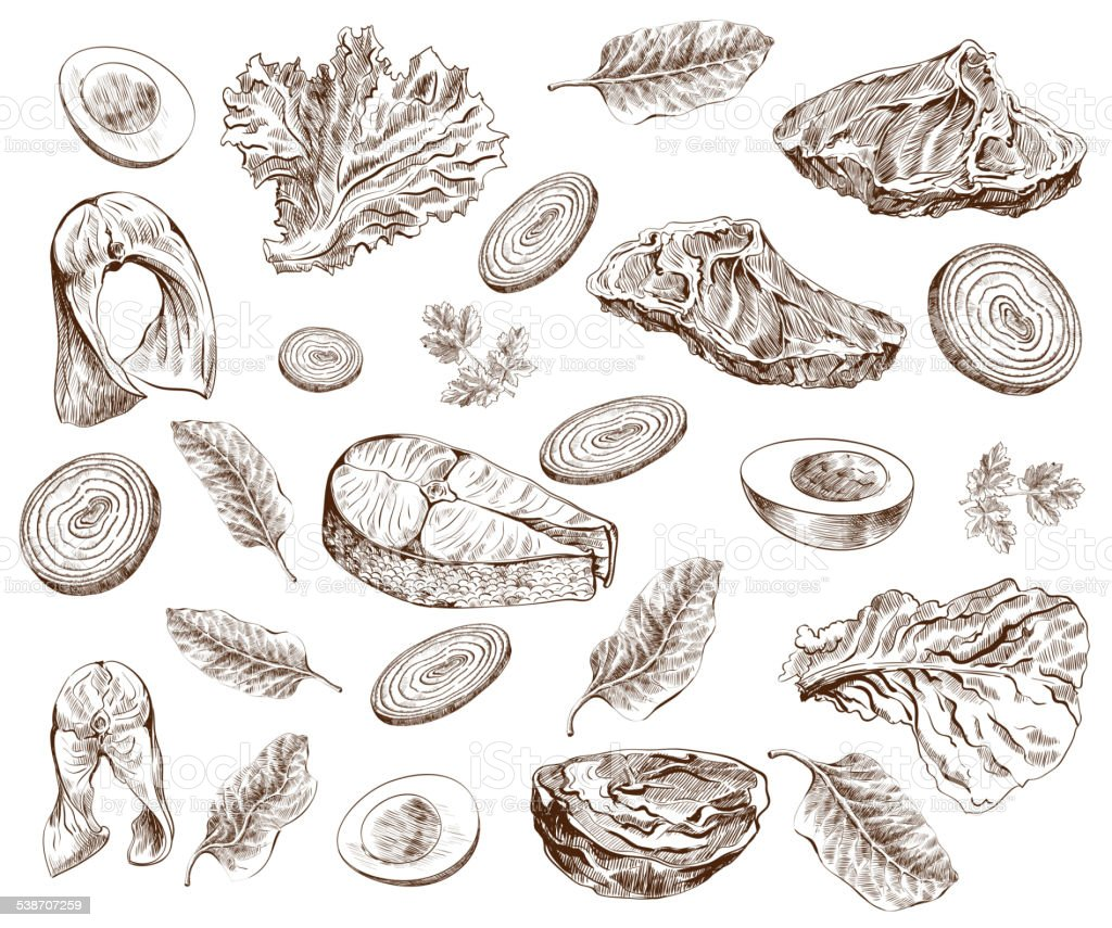 foodstuffs vector art illustration