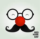 Fool clown glasses and red nose. Red nose day concept. Vector