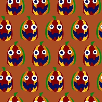 Foolish smiling pumpkin on orange seamless pattern stock vector illustration