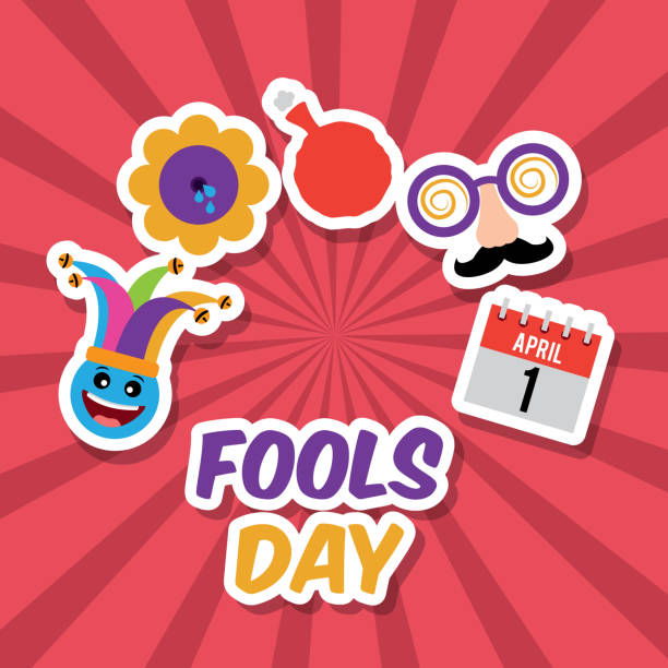 fools day greeting card fools day emoticon with hat calendar flower and cushion vector illustration april fools day stock illustrations
