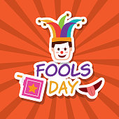 fools day face clown mask jack box and mouth vector illustration
