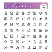 Set of 56 april fools day line icons suitable for web, infographics and apps. Isolated on white background. Clipping paths included.