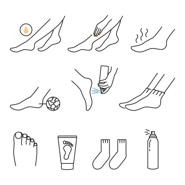 フットケアアイコンアウトラインスタイル - 体 洗う点のイラスト素材/クリップアート素材/マンガ素材/アイコン素材
