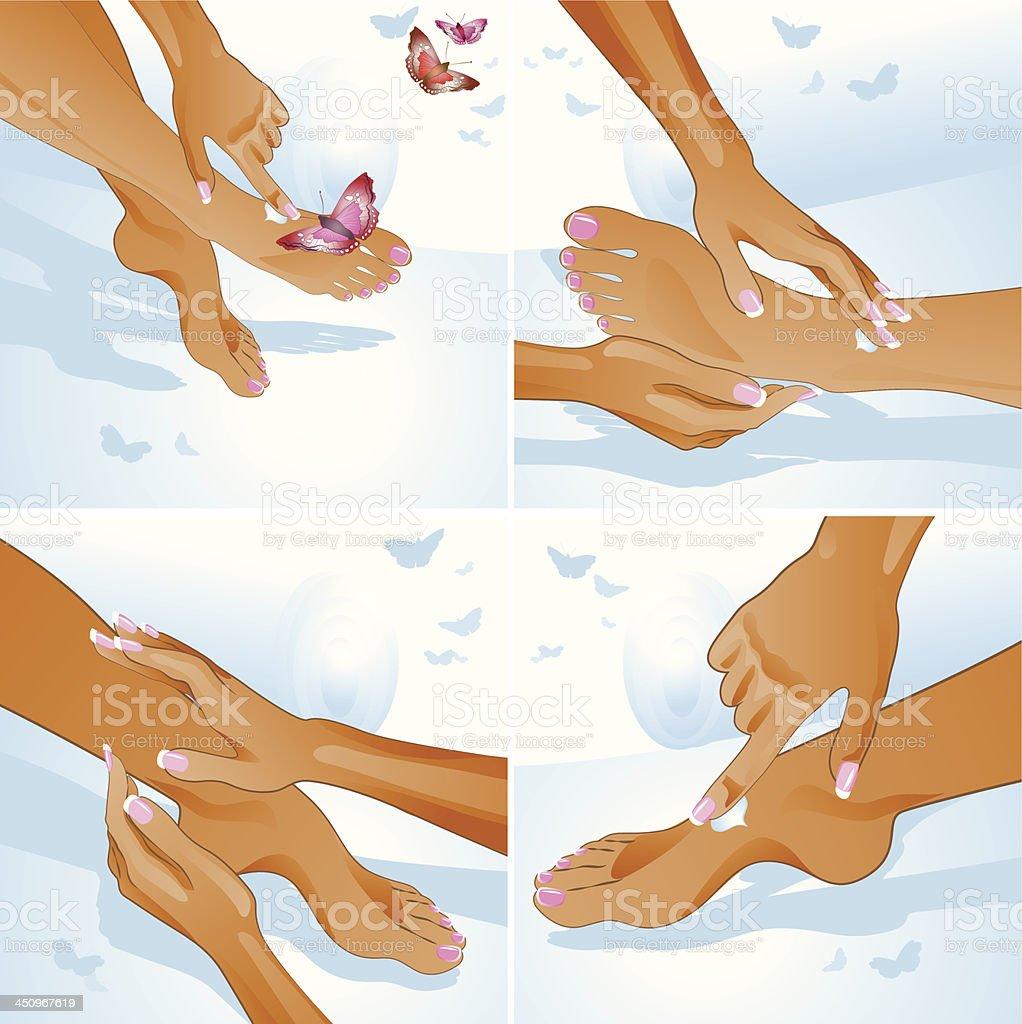 Foot care, massage vector art illustration