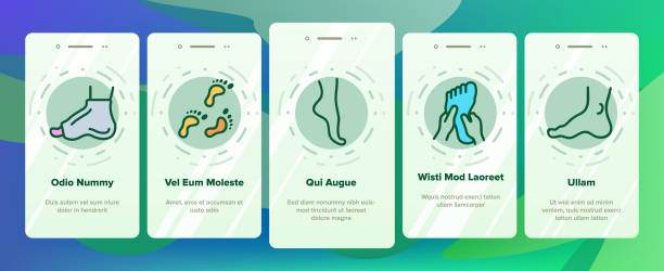 Foot Human Body Part Onboarding Icons Set Vector Foot Human Body Part Onboarding Mobile App Page Screen Vector. Skeletal Foot X-ray Photo And Bones, Footprint And Ankle, Gypsum And Heel Illustrations human finger stock illustrations