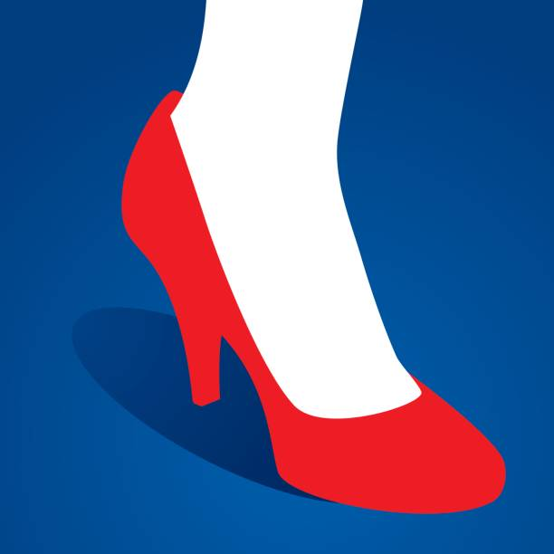 foot in high heel icon - wysokie obcasy stock illustrations