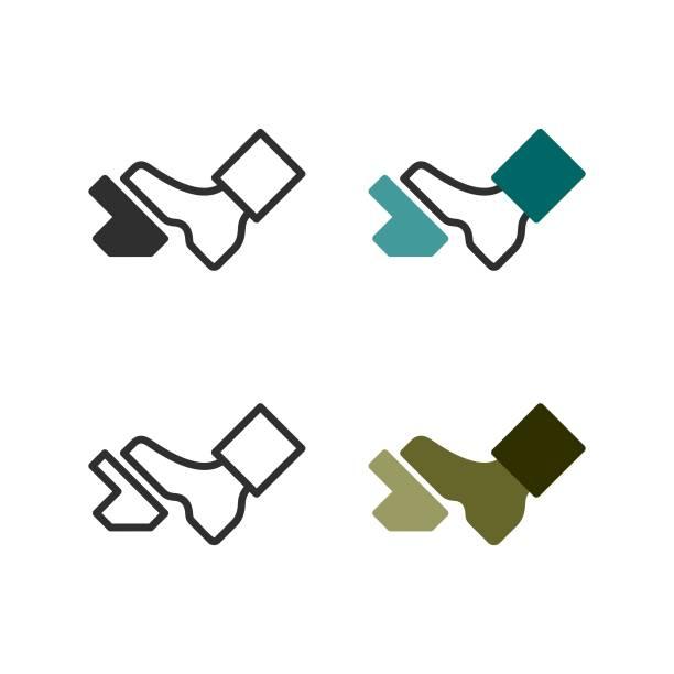 ilustraciones, imágenes clip art, dibujos animados e iconos de stock de el pie está presionando el pedal - pedal