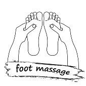 Symbole De Massage Pied Reflexologie Silhouette Pieds Sur Fond Blanc