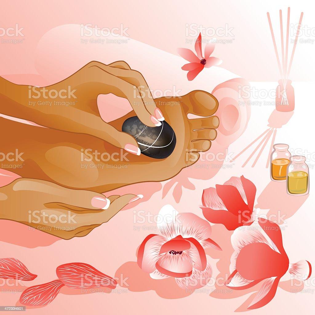 Foot massage vector art illustration