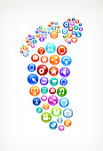 Foot on Social Technology & Internet Color Buttons
