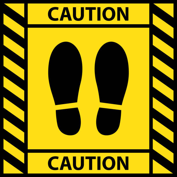ilustrações de stock, clip art, desenhos animados e ícones de foot position warning sign sticker reminding of keeping distance to protect from coronavirus or covid-19, vector illustration of feet step keep a safe social distancing - {{asset.href}}